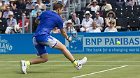 Tennis - 2017 Aegon Championships [Queen's Club Championship] - Day Three, Wednesday<br /> <br /> Men's Singles: Round of 16 _ Tomas Berdych (CZE) Vs Denis Shapovalov (CAN)<br /> <br /> Stefan Kozlov (USA) gets down low for a return of a drop shot at Queens Club<br /> <br /> COLORSPORT/DANIEL BEARHAM