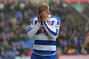 Reading forward Matej Vydra misses an early chance for Reading during the Sky Bet Championship match between Reading and Bristol City at the Madejski Stadium, Reading, England on 2 January 2016. Photo by Jemma Phillips.