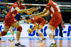 08.01.2016, Max Schmeling Halle, Berlin, GER, CEV Olympia Qualifikation, Frankreich vs Bulgarien, im Bild Je?nia?Grebennikv (#2, Frankreich/France) hebt den Ball nach eine missglueckten Abwehraktion aufo // during 2016 CEV Volleyball European Olympic Qualification Match between France and Bulgaria at the  Max Schmeling Halle in Berlin, Germany on 2016/01/08. EXPA Pictures © 2016, PhotoCredit: EXPA/ Eibner-Pressefoto/ Wuechner<br /> <br /> *****ATTENTION - OUT of GER*****
