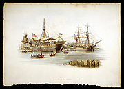 Prison Ships (Hulks or Tenders) in the Thames off the Tower of London; also used to hold men newly press-ganged into the Royal Navy. Hulks were usually old naval (London, 1805). Aquatint.