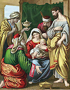 Magi making their symbolic offerings of Gold for royalty, Frankincense for divinity, and Myrrh  for bitterness and suffering,  to the infant Jesus, having followed the star that would lead them to the Messiah. 'Bible' Matthew 2. Chromolithograph c1860