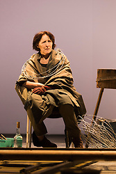 "© Licensed to London News Pictures. 06/05/2014. London, England. ""The Testament of Mary"" performed by actress Fiona Shaw at the Barbican Theatre, London. Running from 1 to 25 May 2014. Directed by Deborah Warner based on the novel by Colm Tóibín. Photo credit: Bettina Strenske/LNP"