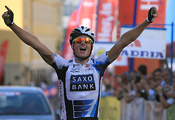Winner Jakob Fuglsang (DEN) of Team Saxo Bank celebrating at the finish line at 1st stage of Tour de Slovenie 2009 from Koper to Villach (229 km), on June 18 2009, in Koper, Slovenia. (Photo by Vid Ponikvar / Sportida)