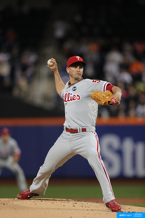Pitcher David Buchanan, pitching for the Philadelphia Phillies during the New York Mets Vs Philadelphia Phillies MLB regular season baseball game at Citi Field, Queens, New York. USA. 14th April 2015. Photo Tim Clayton