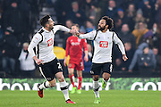 Derby County forward David Nugent (28) and Derby County midfielder Ikechi Anya (8) celebrate after going 3-3 during the EFL Sky Bet Championship match between Derby County and Bristol City at the Pride Park, Derby, England on 11 February 2017. Photo by Jon Hobley.