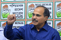 July 13, 2017 - Kolkata, West Bengal, India - West Bengal Pradesh Congress Committee President Adhir Ranjan Chowdhury during a press meet at Congress Regional Head quarter Bidhan Bhavan in Kolkata. (Credit Image: © Saikat Paul/Pacific Press via ZUMA Wire)