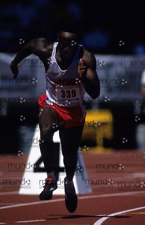 (Victoria, British Columbia---21 July 1994)  Ricardo Greenidge competing in the 200m at the 1994 Canadian National Track and Field Championships and Commonwealth Games Trials. Copyright Sean Burges / Mundo Sport Images, 1994