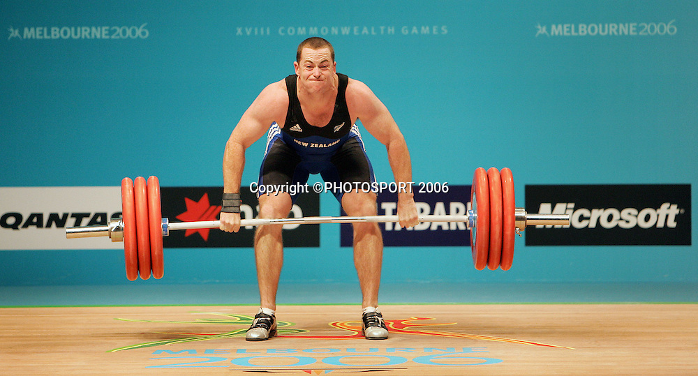 New Zealand's Grant Cavitt in action during the Mens 94kg Weightlifting on day 6 of the XVIII Commonwealth Games, Melbourne, Australia, Tuesday, March 21 2006. Photo: Michael Bradley/PHOTOSPORT<br /> <br /> 210306