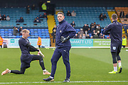 AFC Wimbledon goalkeeping coach Ashley Bayes, AFC Wimbledon goalkeeper Aaron Ramsdale (35) and AFC Wimbledon goalkeeper Joe McDonnell (24) warming up during the EFL Sky Bet League 1 match between Southend United and AFC Wimbledon at Roots Hall, Southend, England on 16 March 2019.