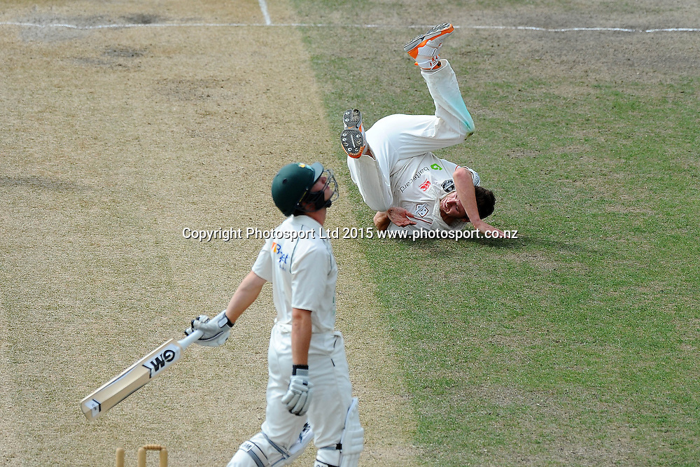 Canterbury player Matt Henry falls over after taking the wicket of Central player Will Young during their Plunket Shield match Central Stags v Canterbury at Saxton Oval, Nelson, New Zealand. Friday 20 March 2015. Copyright Photo: Chris Symes / www.photosport.co.nz