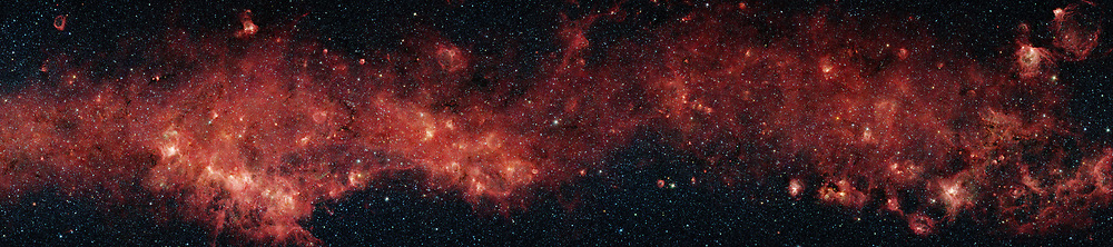 In visible light, the bulk of our Milky Way galaxy's stars are eclipsed behind thick clouds of galactic dust and gas. But to the infrared eyes of NASA's Spitzer Space Telescope, distant stars and dust clouds shine with unparalleled clarity and colour. from the Galactic Legacy Infrared Mid-Plane Survey Extraordinaire project, a plethora of stellar activity in the Milky Way's galactic plane, reaching to the far side of our galaxy, is exposed. This image spans 9 degrees of sky (approximately the width of a fist held out at arm's length). The red clouds indicate the presence of large organic molecules (mixed with the dust), which have been illuminated by nearby star formation. The patches of black are dense obscuring dust clouds impenetrable by even Spitzer's super-sensitive infrared eyes. Bright arcs of white throughout the image are massive stellar incubators. In contrast to the plentiful examples of stellar youth in this montage, Spitzer also sees an object called a planetary nebula (top row, middle, fig. 1). Such nebulae are the final gasp of dying stars like our sun, whose outer layers are blown into space, leaving a burnt out core of a star, called a white dwarf, behind.