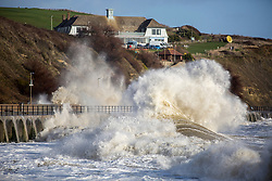 @Licensed to London News Pictures 04/01/18.Folkestone, Kent. Storm force waves hit the promenade at Sunny Sands in Folkestone on the Kent coast today. Storm Eleanor with gusts of over 100 mph creates havoc across the whole of the UK. Photo credit: Manu Palomeque/LNP