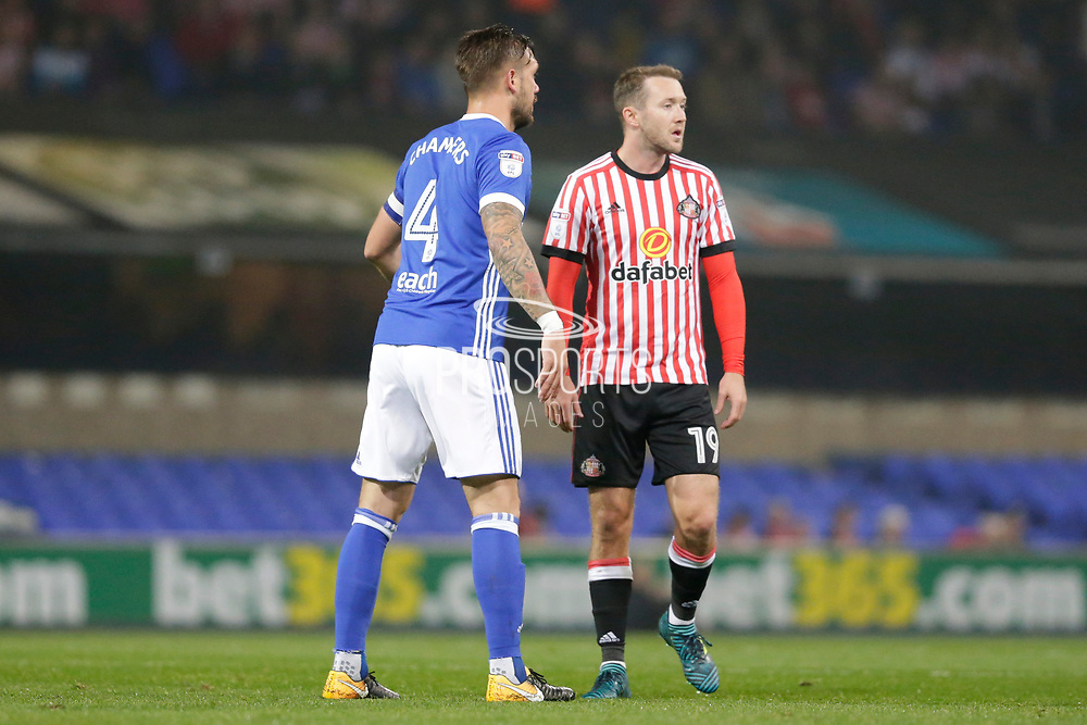 Sunderland midfielder Aiden McGeady (19) Ipswich Town defender Luke Chambers (4) during the EFL Sky Bet Championship match between Ipswich Town and Sunderland at Portman Road, Ipswich, England on 26 September 2017. Photo by Phil Chaplin.