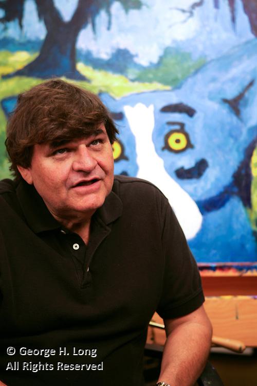 Blue Dog artist George Rodrigue in his studio