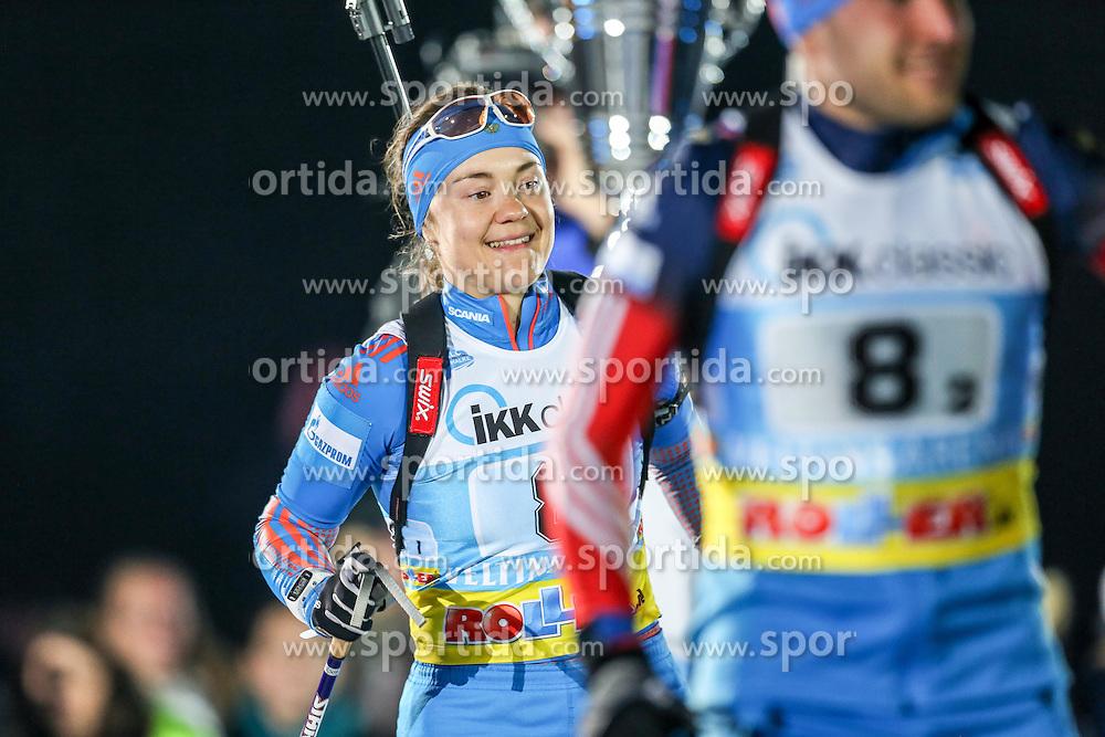 28.12.2015, Veltins Arena, Gelsenkirchen, GER, IBU Weltcup Biathlon, auf Schalke, im Bild Ekaterina Yurlova (Russland/RU) // during the IBU Biathlon World Cup at Veltins Arena in Gelsenkirchen, Germany on 2015/12/28. EXPA Pictures &copy; 2015, PhotoCredit: EXPA/ Eibner-Pressefoto/ Kohring<br /> <br /> *****ATTENTION - OUT of GER*****
