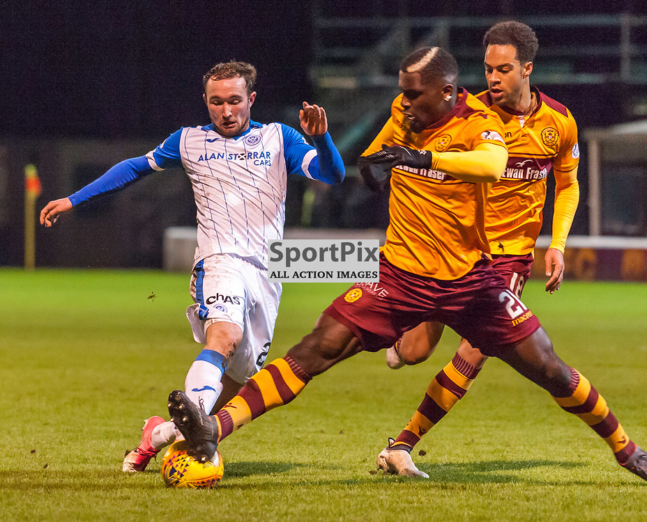 #21 Cédric Kipre (Motherwell) steps in to clear from #25 Chris Kane (St Johnstone) - Motherwell v St Johnstone - Ladbrokes Premiership - 06 February 2018 - © Russel Hutcheson | SportPix.org.uk
