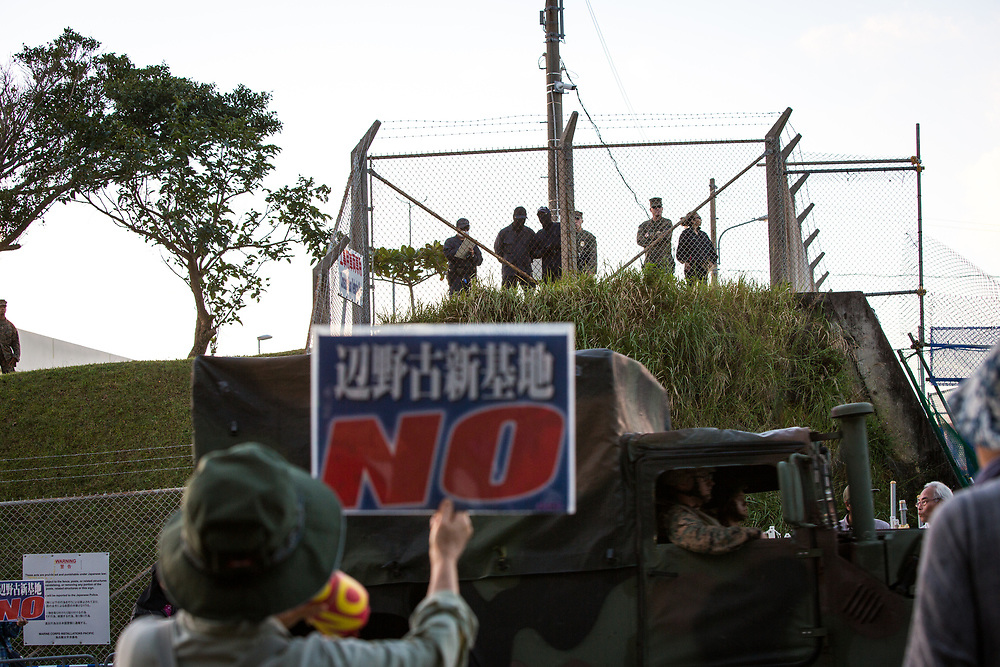 OKINAWA, JAPAN - NOVEMBER 18:  Anti U.S. Base protesters stage a protest in front of the gate of U.S Base in Camp Schwab protesting against the construction of the new U.S base in Henoko, Nago, Okinawa prefecture, Japan on November 18, 2015. (Photo: Richard Atrero de Guzman)