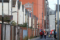 23rd August 2017 - UEFA Champions League - Play-Off (2nd Leg) - Liverpool v 1899 Hoffenheim - A general view (GV) of Anfield seen above rows of terraced houses - Photo: Simon Stacpoole / Offside.
