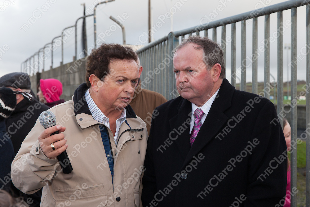 Quilty man and recent Clare man of the year, Marty Morrissey, with An tUachtaran Cumann Luthchleas Gael, Mr. Liam O'Neill, during the Kilmurry Ibrickane GAA Club Centenary Closing Ceremony,