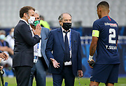 French President Emmanuel Macron, President of French Football Federation (FFF) Noel Le Graet, Thiago Silva of PSG during the teams' presentation before the French Cup final football match between Paris Saint-Germain (PSG) and Saint-Etienne (ASSE) on Friday 24, 2020 at the Stade de France in Saint-Denis, near Paris, France - Photo Juan Soliz / ProSportsImages / DPPI
