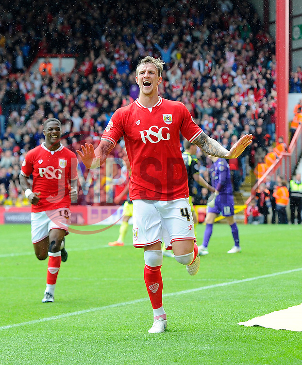 Bristol City's Aden Flint celebrates his hat trick goal  - Photo mandatory by-line: Joe Meredith/JMP - Mobile: 07966 386802 - 03/05/2015 - SPORT - Football - Bristol - Ashton Gate - Bristol City v Walsall - Sky Bet League One