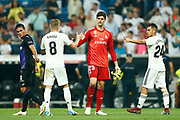 Real Madrid's Belgian goalkeeper Thibaut Courtois gestures during the Spanish championship Liga football match between Real Madrid CF and Leganes on September 1, 2018 at Santiago Bernabeu stadium in Madrid, Spain - Photo Benjamin Cremel / ProSportsImages / DPPI