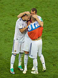 MOSCOW, RUSSIA - Sunday, July 1, 2018: Russia's Artem Dzyuba and team-mates Ilya Kutepov (left) and Fedor Kudriashov (right) celebrate after beating Spain 4-3 on penalties during the FIFA World Cup Russia 2018 Round of 16 match between Spain and Russia at the Luzhniki Stadium. (Pic by David Rawcliffe/Propaganda)