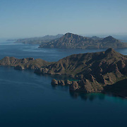 Aerial view of Isla del Carmen. Loreto, BCS. Mexico