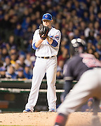 CHICAGO, IL - OCTOBER 30, 2016: Jon Lester #34 of the Chicago Cubs pitches during Game 5 of the 2016 World Series against the Cleveland Indians at Wrigley Field on October 30, 2016 in Chicago, Illinois. (Photo by Jean Fruth)