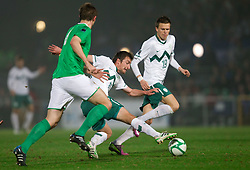 Armin Bacinovic of Slovenia and Josip Ilicic of Slovenia during EURO 2012 Quaifications game between National teams of Slovenia and Northern Ireland, on March 29, 2011, in Windsor Park Stadium, Belfast, Northern Ireland, United Kingdom. (Photo by Vid Ponikvar / Sportida)