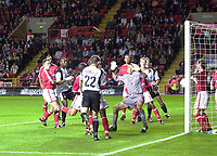 Photo. Glyn Thomas<br />Charlton Athletic v Luton Town. Carling Cup 2nd round.<br />The Valley, Charlton. 23/09/2003.<br />Charlton keeper Dean Kiely can only watch in horror as David Bayliss puts Luton 2-0 up in the first half.