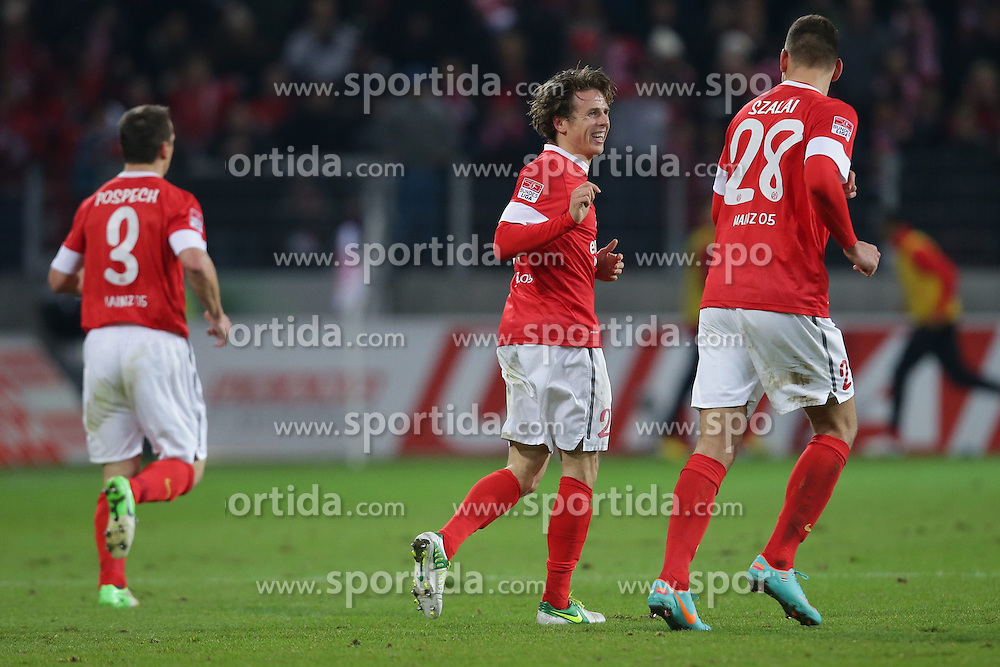 15.12.2012, Coface Arena, Mainz, GER, 1. FBL, 1. FSV Mainz 05 vs VfB Stuttgart, 17. Runde, im Bild Jubel Mainz - Ausgleich zum 1-1 durch Nicolai MUELLER - MULLER (FSV Mainz 05 - 27) MITTE -links Zdenek POS PECH (FSV Mainz 05 - 3) - rechts Adam SZALAI (FSV Mainz 05 - 28) // during the German Bundesliga 17th round match between 1. FSV Mainz 05 and VfB Stuttgart at the Coface Arena, Mainz, Germany on 2012/12/15. EXPA Pictures © 2012, PhotoCredit: EXPA/ Eibner/ Gerry Schmit..***** ATTENTION - OUT OF GER *****