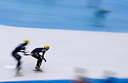 (R) Lee Hyo Been (166) of South Korea competes in the 3000 meters Relay Men on day two of the 2013 ISU Short Track Speed Skating Junior World Championships at Torwar Ice Hall on February 23, 2013 in Warsaw, Poland...Poland, Warsaw, February 23, 2013...Picture also available in RAW (NEF) or TIFF format on special request...For editorial use only. Any commercial or promotional use requires permission...Photo by © Adam Nurkiewicz / Mediasport