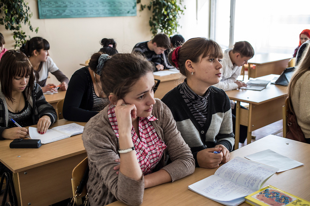 Students sit in a chemistry class at a technical college on Wednesday, October 23, 2013 in Baikalsk, Russia.
