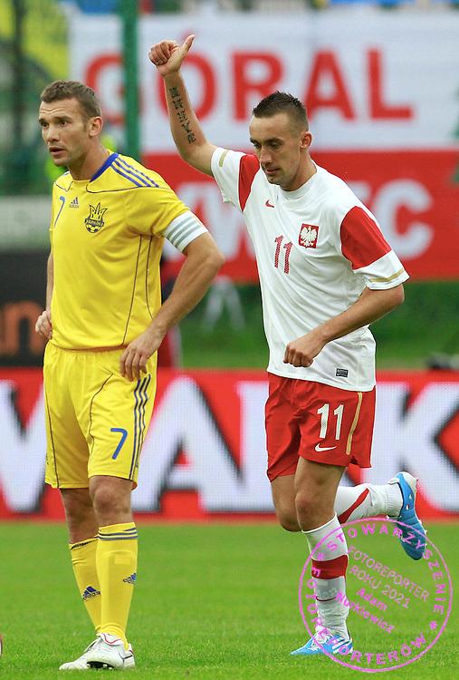 LODZ 04/09/2010.FOOTBALL INTERNATIONAL FRIENDLY.POLAND v UKRAINE.IRENEUSZ JELEN CELEBRATES HIS GOAL FOR POLAND ..Fot: Piotr Hawalej / WROFOTO
