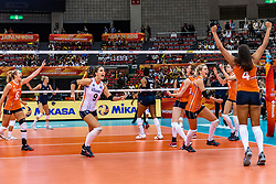 15-10-2018 JPN: World Championship Volleyball Women day 16, Nagoya<br /> Netherlands - USA 3-2 / Maret Balkestein-Grothues #6 of Netherlands, Myrthe Schoot #9 of Netherlands, Lonneke Sloetjes #10 of Netherlands, Laura Dijkema #14 of Netherlands, Celeste Plak #4 of Netherlands, Yvon Belien #3 of Netherlands
