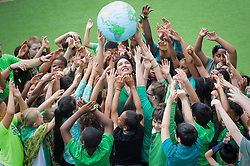 **CAPTION CORRECTION Pictures taken TODAY, 23rd, June, 2017**<br /> &copy; London news Pictures. 23/06/2017. London, UK. Children from St Thomas CE Primary School in North Kensington have joined other West London schools, to raise money for the families affected by the Grenfell disaster by wearing green. Several families who attend the school were affected by the fire. Permission given from all parents for the use of the photos. Photo credit: Andre Camara/LNP
