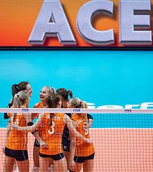 03-10-2018 NED: World Championship Volleyball Women day 5, Yokohama<br /> Argentina - Netherlands 0-3 / Lonneke Sloetjes #10 of Netherlands, Marrit Jasper #18 of Netherlands, Maret Balkestein-Grothues #6 of Netherlands