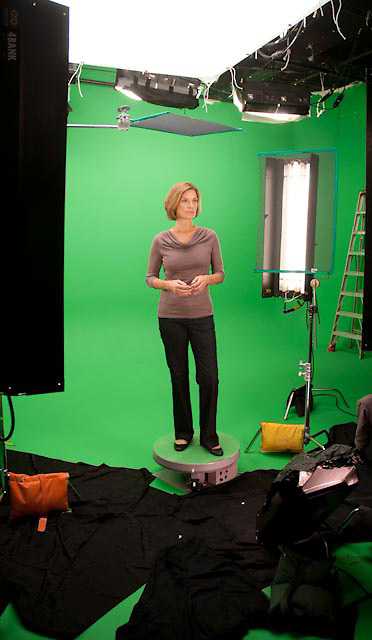 """Green Screen behind the scenes. The shoot titles, """"The Animated Woman"""" was produced by Iomedia for Tylenol."""