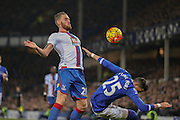 Crystal Palace forward Connor Wickham   fouls Everton defender Ramiro Funes Mori   during the Barclays Premier League match between Everton and Crystal Palace at Goodison Park, Liverpool, England on 7 December 2015. Photo by Simon Davies.