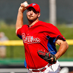 February 29, 2012; Clearwater, FL, USA; Philadelphia Phillies starting pitcher Phillippe Aumont (43) during a spring training exhibition game against Florida State University at Bright House Networks Field. The Phillies defeated Florida State 6-1. Mandatory Credit: Derick E. Hingle-US PRESSWIRE