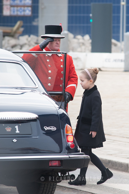 20.02.2018. Copenhagen, Denmark. <br /> Princess Josephine's leaves the Christiansborg Palace Church after the funeral service.<br /> Photo: Ricardo Ramirez.