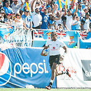 Fiji beat South Africa 24-19 in the Cup Semi Final of the 2015 USA Sevens leg of the HSBC Sevens World Series (Round 5) at Sam Boyd Stadium in Las Vegas, Nevada. Sunday February 15, 2015.<br /> <br /> COPYRIGHT &copy; JACK MEGAW, 2015. <br /> <br /> www.jackmegaw.com