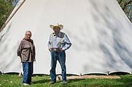 Charlie and Margo Real Bird, 82 year old, twin siblings, Lucy Real Bird graduation celebration, Crow Indian Reservation, in Montana