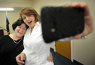 OTTSVILLE, PA - JUNE 17: Diane Chronister (L) and Kelly Jennings (R) make a selfie photo after being married by District Judge Gary Gambardella June 17, 2014 in Ottsville, Pennsylvania. The judge recently announced that he will be holding evening ceremonies in case same-sex couples find it difficult to get married now that the state's ban on same-sex marriage was struck down by a federal court. (Photo by William Thomas Cain/Cain Images)