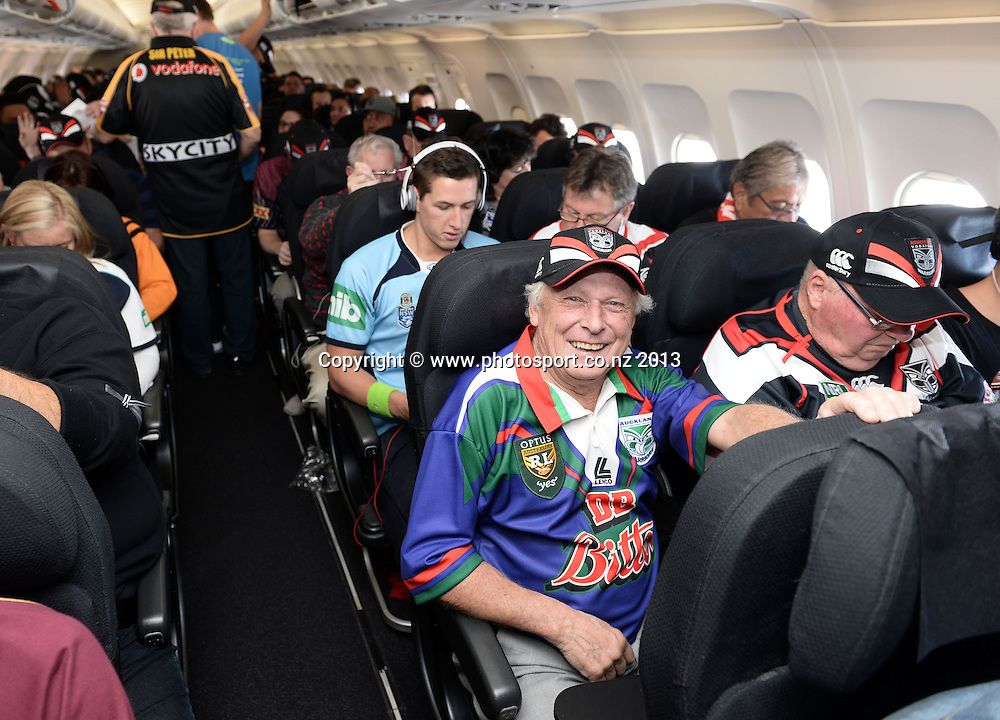 Grab a Seat Flight to State of Origin and Warriors Rugby League matches by Air New Zealand, The Mad Butcher ( Sir Peter Leitch ) and Awen Guttenbiel, Sydney, Australia. 17-20 July 2013. Photo: Andrew Cornaga/www.photosport.co.nz