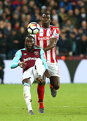 April 16, 2018 - London, England, United Kingdom - West Ham United's Arthur Masuaku.during English Premier League match between West Ham United and Stoke City at London stadium, London, England on 16 April 2018. (Credit Image: © Kieran Galvin/NurPhoto via ZUMA Press)