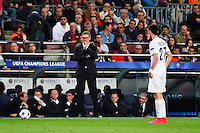 Laurent BLANC / Javier PASTORE - 21.04.2015 - Barcelone / Paris Saint Germain - 1/4Finale Retour Champions League<br />