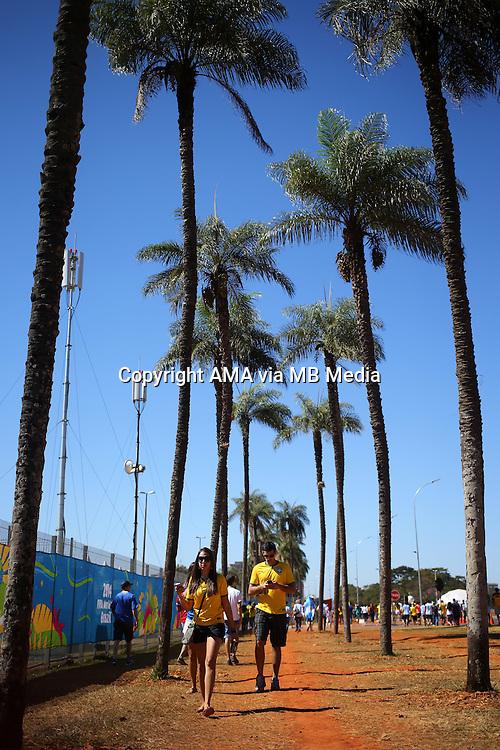 Fans make their way through the palm trees to the National Stadium / Estadio Nacional Mane Garrincha in Brasilia, Brazil, host venue of the FIFA 2014 World Cup