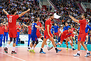 Poland, Krakow - 2017 September 03: (L-R) Egor Kliuka and Roman Martynyuk and Artem Volvich and Maxim Mikhailov and Dmitrii Volkov and Alexander Butko all from Russia celebrate victory in the final match between Germany and Russia during Lotto Eurovolleyball Poland 2017 - European Championships in volleyball at Tauron Arena on September 03, 2017 in Krakow, Poland.<br /> <br /> Mandatory credit:<br /> Photo by © Adam Nurkiewicz<br /> <br /> Adam Nurkiewicz declares that he has no rights to the image of people at the photographs of his authorship.<br /> <br /> Picture also available in RAW (NEF) or TIFF format on special request.<br /> <br /> Any editorial, commercial or promotional use requires written permission from the author of image.